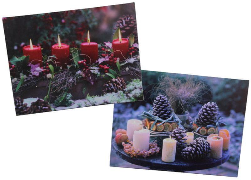 Seizis Set 2 ks obrázků s LED, vánoční motiv 1