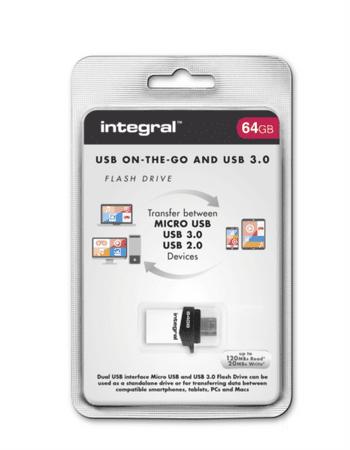 Integral spominski ključek 64GB Micro Fusion USB3.0 OTG