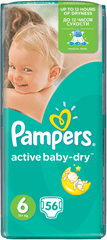 Pampers Active Baby Pieluchy 6 Extra Large, 56 sztuk