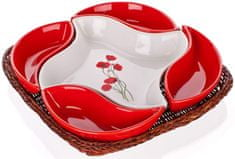 Banquet Zestaw misek v koszyku Red Poppy 5 elementów