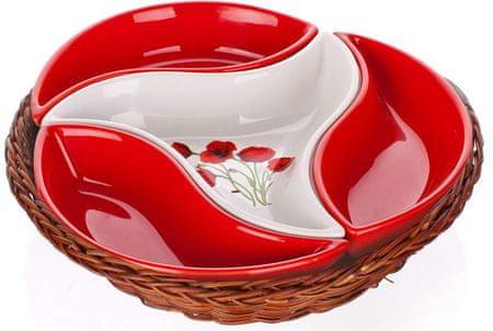 Banquet skledice Red Poppy v košarici, 4 delni