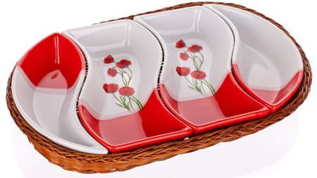 Banquet skledice Red Poppy v ovalni košarici, 4 delni