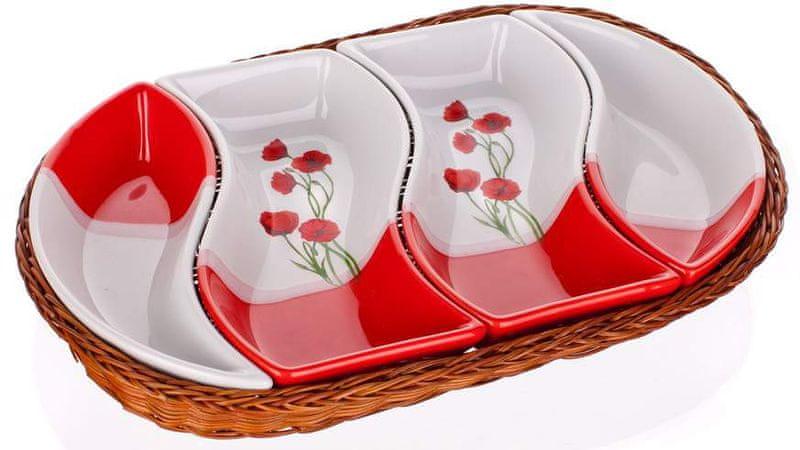 Banquet Sada misek v košíku ovál Red Poppy 4 díly