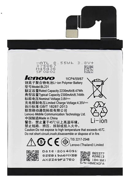 Lenovo baterie, BL231, 2230mAh, Li-Ion, BULK