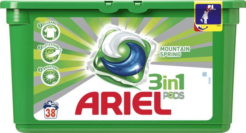 Ariel Mountain Spring prací kapsle 38 ks