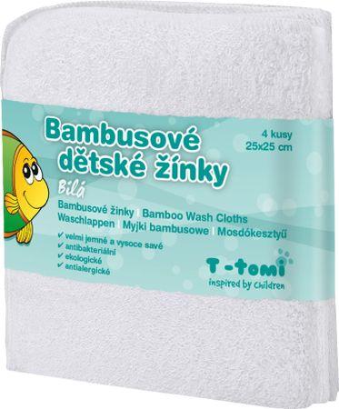 T-tomi bambusova brisača za umivanje, 4 kosi, bela