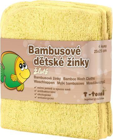 T-tomi bambusova brisača za umivanje, 4 kosi, rumena