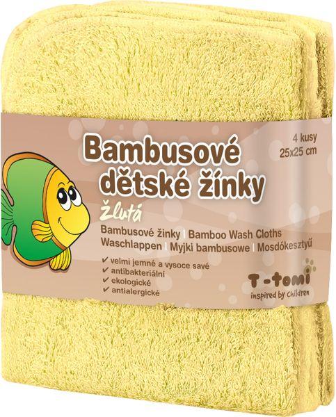 T-tomi Bambusové koupací žínky, 4ks žlutá