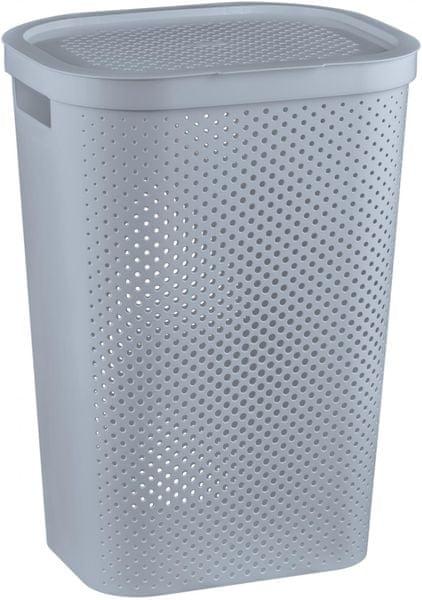 Curver Koš na špinavé prádlo s puntíky Infinity 59 l šedá