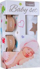 T-tomi Baby set - bambusova tetra plenička + ščipalka za otroški voziček