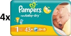 Pampers New Baby pieluchy 1 Newborn (4 x 43 szt) 172 szt