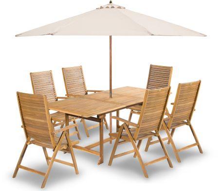 Fieldmann meble ogrodowe ARIA 6 z kremowym parasolem