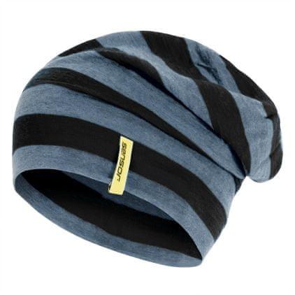 Sensor Čepice Merino Wool Černá Pruhy M