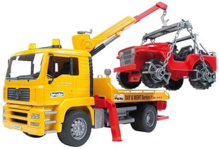 Bruder vlečna služba MAN in vozilo Jeep, 50 cm, 1:16, 2750