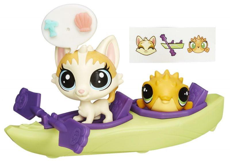 Littlest Pet Shop Zvířátko s kamarádem a vozidlem cat and fish