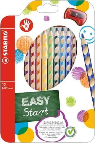 Pastelky Stabilo EASYcolors pro praváky 12 ks + ořezávátko