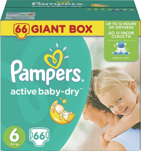 Pampers Pleny Active Baby 6 Extra Large (15+kg) Giant Box - 66 ks