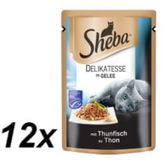 Sheba hrana za odrasle mačke Delikatesse in Gelee, tuna, 12 x 85 g