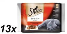 Sheba hrana za odrasle mačke Selection in Sauce, mesna mešanica, 13 x (4 x 85 g)