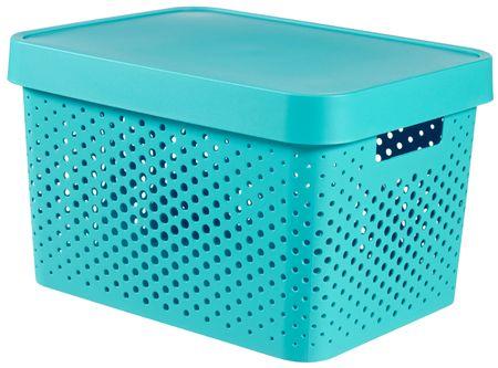 Curver škatla za shranjevanje z luknjicami in pokrovom Infinity, 17 l, modra
