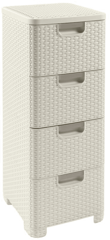 Curver Skříňka se zásuvkami Rattan Style 4x14 l krémová