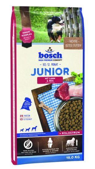 Bosch hrana za pasje mladičke Junior, jagnjetina in riž, 15 kg (nova receptura)