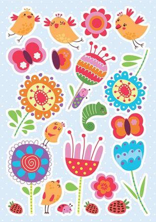 Crearreda dekorativna nalepka, Ptice & rožice