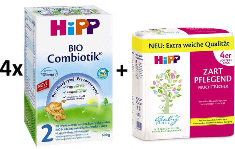 HiPP 2 BIO Combiotic - 4x600g + Vlhčené ubrousky 4x56ks