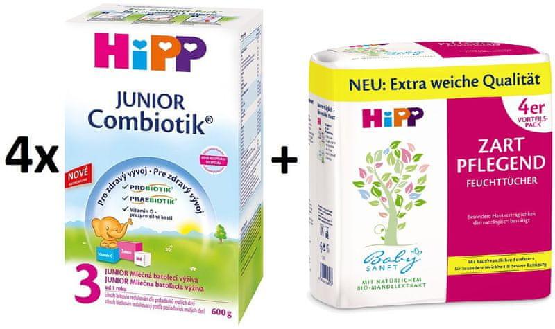 HiPP 3 Junior Combiotic - 4x600g + Vlhčené ubrousky 4x56 ks