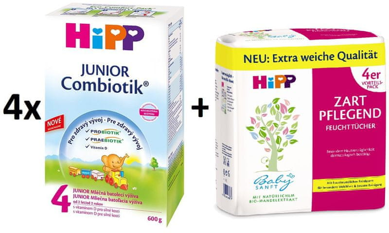 HiPP 4 Junior Combiotic - 4x600g + Vlhčené ubrousky 4x56 ks