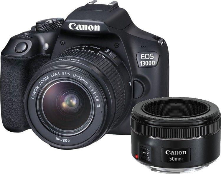 Canon EOS 1300D + 18-55 DC + EF 50 1,8 STM + 1000 Kč od Canonu zpět