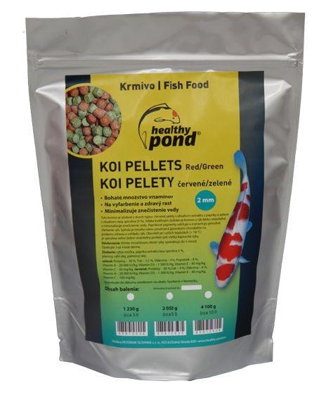 Healthy Pond Plovoucí pelety červené/zelené 2mm 3L