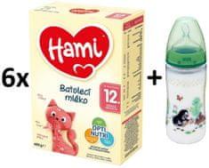 Hami 12+ 6 x 600g + NUK fľaša Krtko 300ml