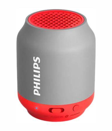 Philips brezžični prenosni zvočnik BT50B, sivo-rdeč