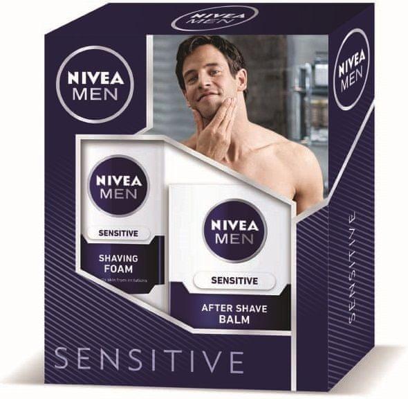 Nivea Sensitive Balzám po holení 100 ml + Pěna na holení 200 ml Dárková sada