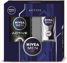 Nivea MEN Active Clean Shower Gel Kit 250 ml + Invisible For Black & White Antiperspirant, Dárková sada