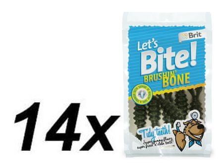 Brit pasji priboljšek Let's Bite Brushin' Bone, 14 x 90 g
