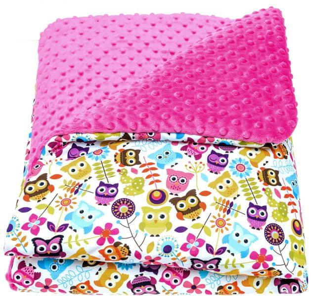 CuddlyZOO Dětská deka s výplní, vel. M - sovy/růžová