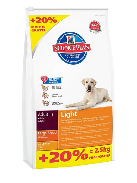 Hill's Canine Adult Light Large Breed 12 kg+2,5kg Zdarma