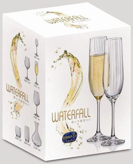 Crystalex kozarci za šampanjec Waterfall, 190 ml, 6 kosov