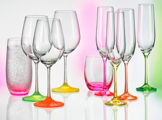 Crystalex kozarci za šampanjec Neon, 190 ml, 4 kosi
