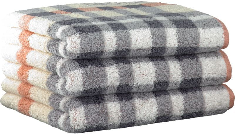Joop! ručníky Breeze checked 50x100 cm, 3 ks lososová