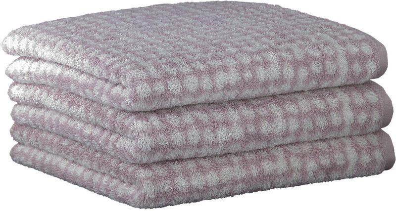 Cawö Frottier ručníky Struktur 50x100 cm, 3 ks růžová