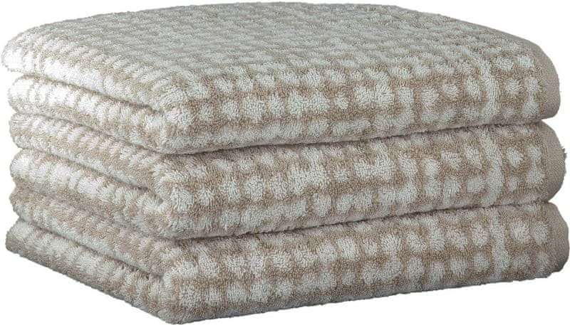 Cawö Frottier ručníky Struktur 50x100 cm, 3 ks béžová