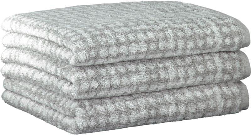 Cawö Frottier ručníky Struktur 50x100 cm, 3 ks šedá