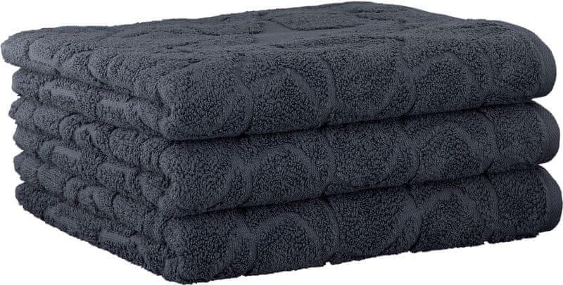Cawö Frottier ručníky Ambiente Stars 50x100 cm, 3 ks tmavě šedá