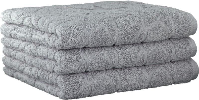 Cawö Frottier ručníky Ambiente Stars 50x100 cm, 3 ks šedá