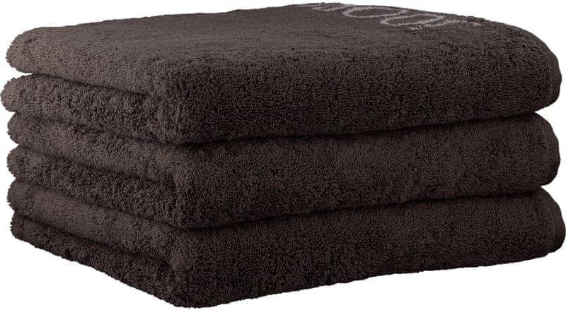 Joop! 3ks ručníky 50x100 cm, doubleface hnědá
