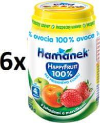 Hamánek Happy Fruit s jahodami a marhuľou 6x190g