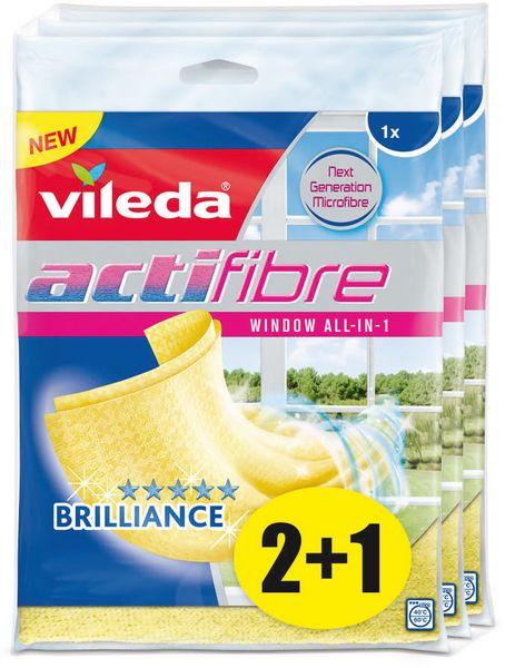 Vileda Actifibre mikrohadřík na okna 1 ks, balení 2+1